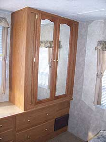 372 PARK TRAILER LARGE CLOSET AND DRESSER IN BEDROOM